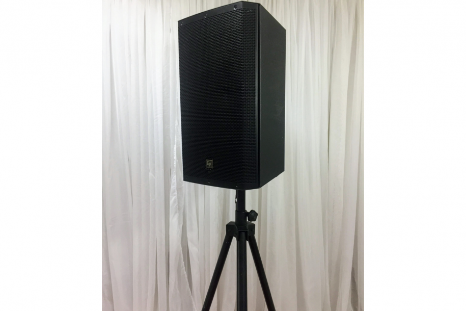 speaker on tripod