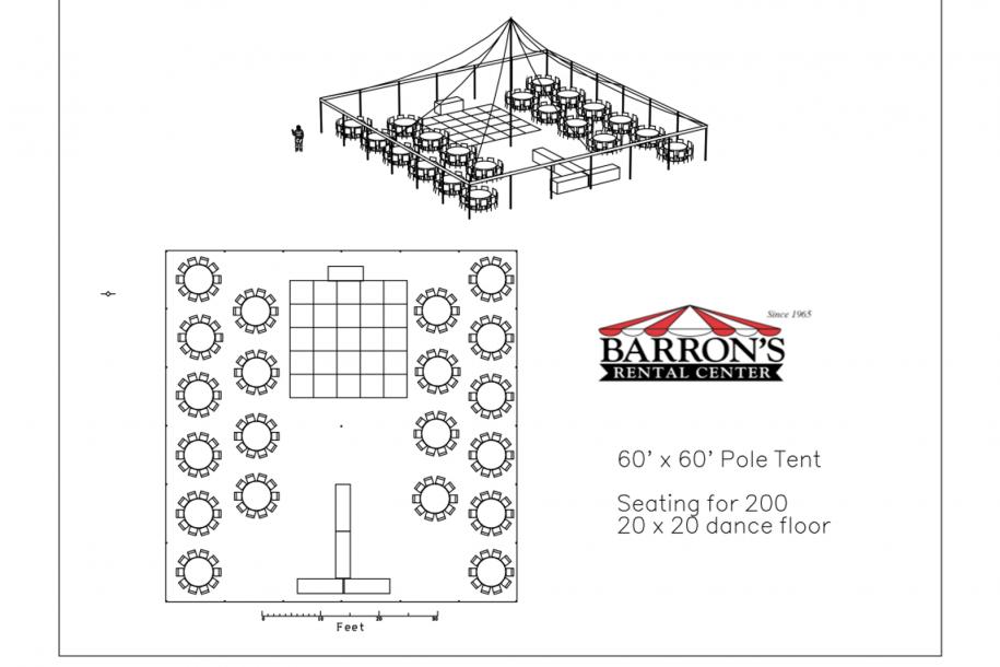 60u2032 x 60u2032 Pole Tent  sc 1 st  Barronu0027s Rental Center & 60u0027 x 60u0027 Pole Tent - Barrons Barrons